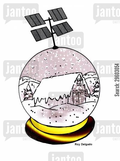 satellite television cartoon humor: Living in a snow globe.
