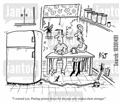 insect killer cartoon humor: I warned you putting poison down for the ants only makes them stronger.
