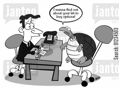 morgages cartoon humor: I wanna find out about your let to buy options!