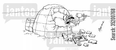 eskimoes cartoon humor: Man breaking the wall of his igloo while trying to hang a picture