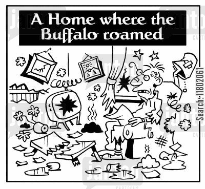 roaming cartoon humor: A home where the buffalo roamed.