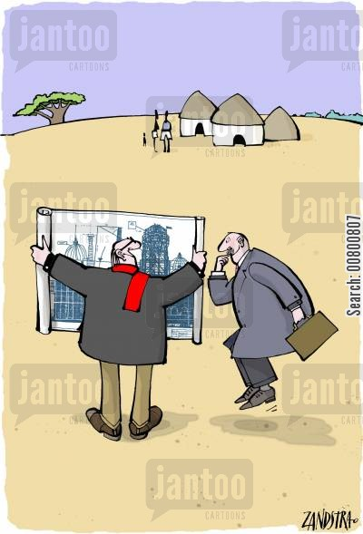 business plan cartoon humor: Developers at small African village.