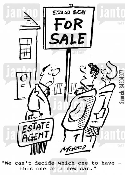 second property cartoon humor: We can't decide which one to have - this one or a new car.