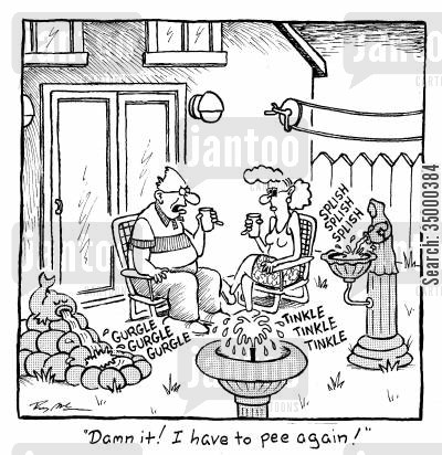 peeing again cartoon humor: Damn it! I have to pee again!
