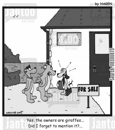 suitability cartoon humor: 'Yes, the owners are giraffes...Did I forget to mention it?...'