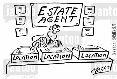situation cartoon humor: Location Location Location