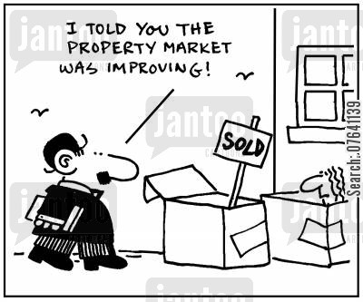 cardboard box cartoon humor: 'I told you the property market was improving.'