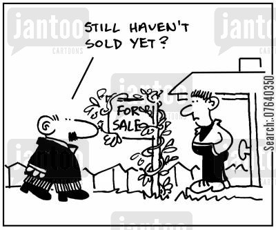 ladders cartoon humor: 'Still haven't sold yet?.'
