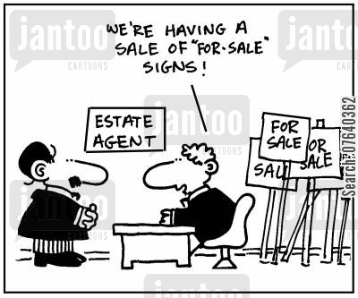selling points cartoon humor: 'We're having a sale of for-sale signs.'
