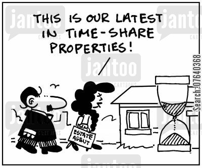 hourglass cartoon humor: 'This is our latest in time-share properties.'