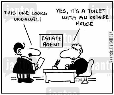 outhouse cartoon humor: 'This one looks unusual. Yes, it's a toilet with an outside house.'