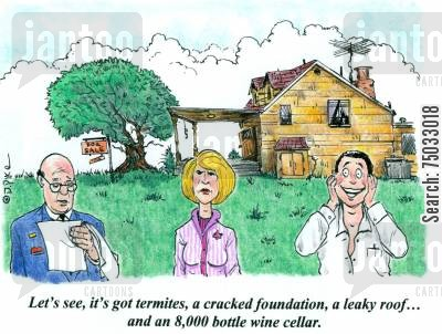 roods cartoon humor: 'Let's see, it's got termites, a cracked foundation, a leaky roof...and an 8,000 bottle wine cellar.'