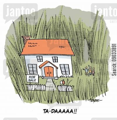 house buyers cartoon humor: 'TA-DAAAAA!!'