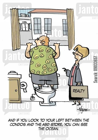 estate agents cartoon humor: 'And if you look to your left between the condos and the ABD store, you can see the ocean.'
