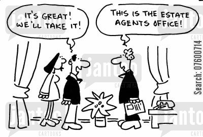 letting agent cartoon humor: Couple wanting to buy the estate agents office.
