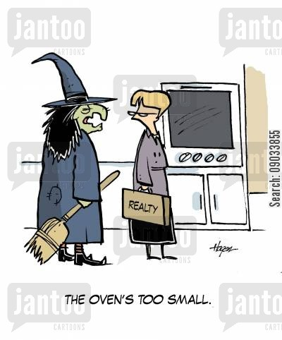 for sale cartoon humor: 'The oven's too small.'