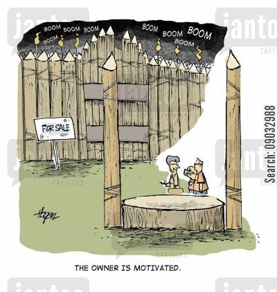 for sale cartoon humor: The owner is motivated.