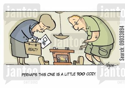 small houses cartoon humor: 'Perhaps this one is a little TOO cozy.'