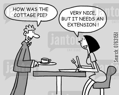 cottage pie cartoon humor: How was the cottage pie? Very nice, but it needs an extension!