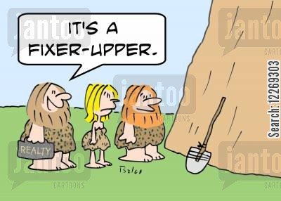 property developments cartoon humor: REALTY, 'It's a fixer-upper.'