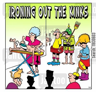 kink cartoon humor: Ironing out the kinks.