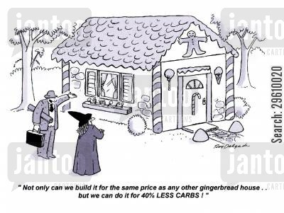 house sale cartoon humor: 'Not only can we build it for the same price as any other gingerbread house.. but we can do it for 40 LESS CARBS!'