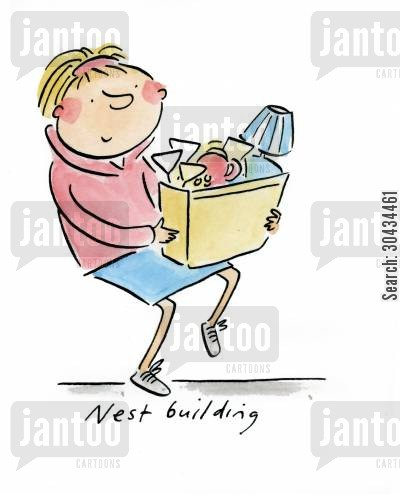 settling down cartoon humor: Nest building