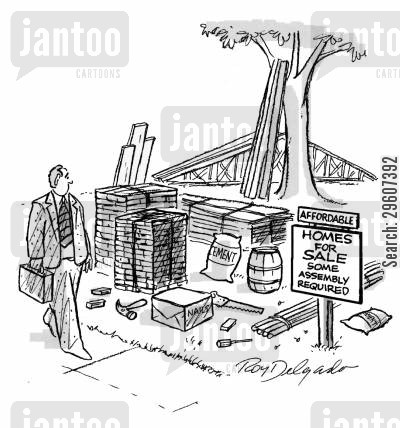 new home cartoon humor: Homes for sale - some assembly required.