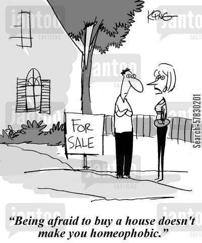 new home cartoon humor: 'Being afraid to buy a house doesn't make you homeophobic.'