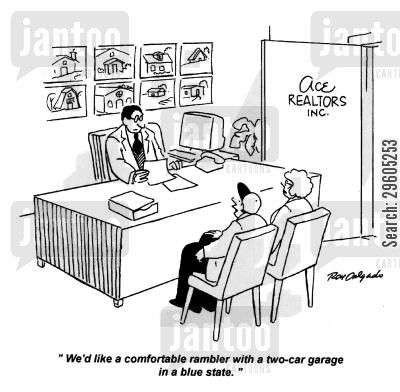 requirements cartoon humor: 'We'd like a comfortable rambler with a two-car garage in a blue state.'