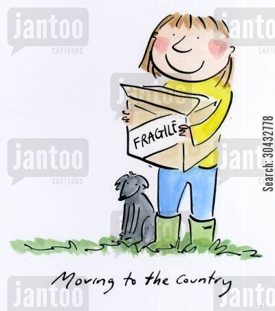 moving to the country cartoon humor: Moving to the country.