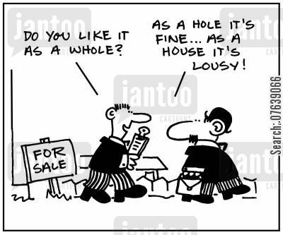 property developers cartoon humor: 'How do you like it as a whole?' - 'As a hole it's fine. As a house it's lousy.'