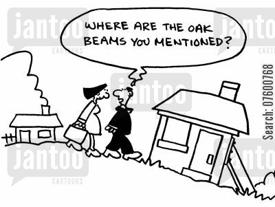 home owner cartoon humor: 'Where are the oak beams you mentioned?'