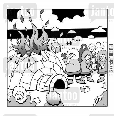 firebrigade cartoon humor: Igloo Fire.