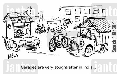 property developers cartoon humor: Garages are very sought-after in India...