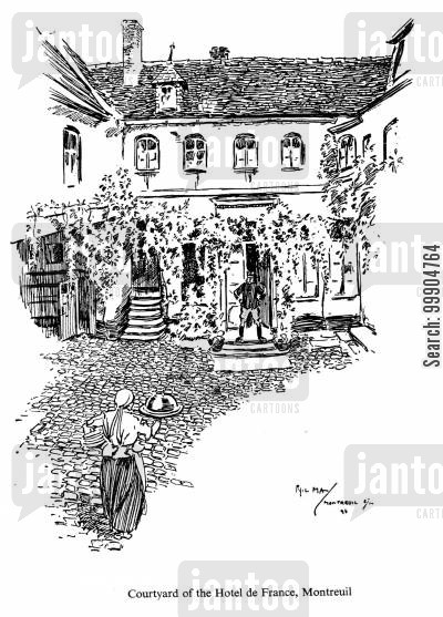 concierges cartoon humor: Courtyard of the Hotel de France, Montreuil.