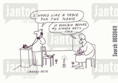 dining table cartoon humor: Ordering a dining table before dinner gets cold.