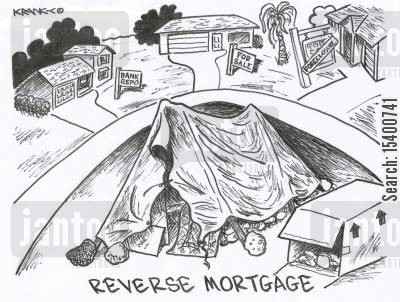 property prices cartoon humor: Reverse Mortgage.