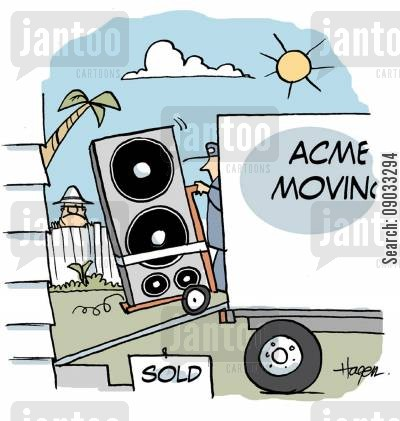 new neighbour cartoon humor: Moving van unloading huge speakers.