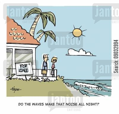 for sale cartoon humor: Do the waves make that noise all night?