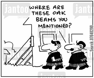 oak beams cartoon humor: 'Where are these oak beams you mentioned?'