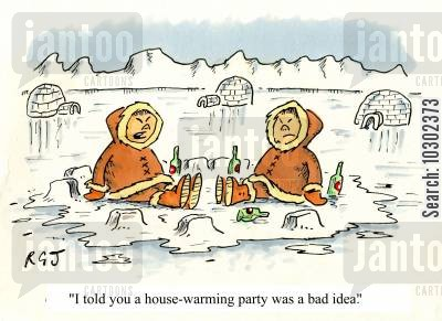 snowhouses cartoon humor: 'I told you a house-warming party was a bad idea.'
