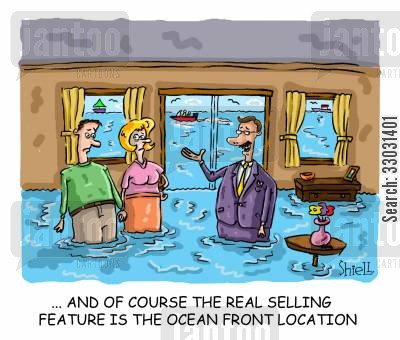 property sales cartoon humor: The real selling feature is the ocean front location.