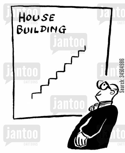housing developments cartoon humor: House building chart (like steps).