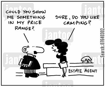 housing prices cartoon humor: 'Could you show me something in my price range.'