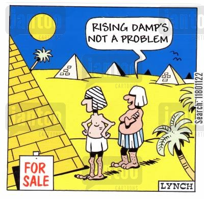 stating the obvious cartoon humor: Rising damp's not a problem.
