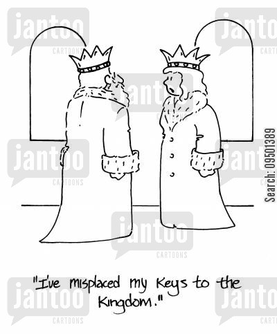 lost my keys cartoon humor: 'I've misplaced my keys to the kingdom.'