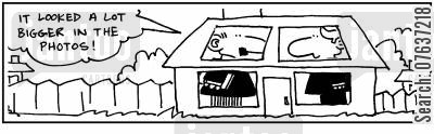 sales adverts cartoon humor: Tiny house. 'It looked a lot bigger in the photos.'