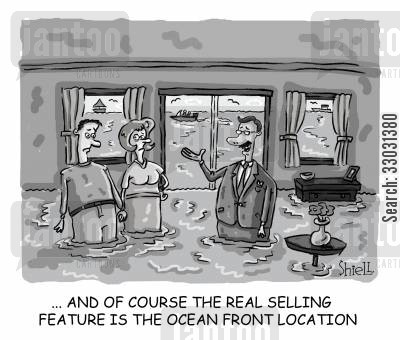 new home cartoon humor: The real selling feature is the ocean front location...