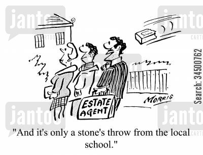 areas cartoon humor: And it's only a stone's throw from the local school.